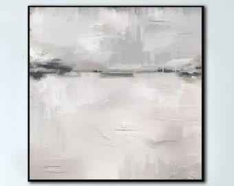 White Painting Abstract Oil Painting Original Canvas Painting Abstract Large Oil Silver Painting Abstract Painting Living Room Wall Art