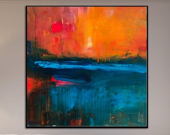 Sunset Art Large Abstract Oil Painting Red Art Abstract Paintings On Canvas Abstract Original Abstract Wall Painting Artwork for Bedroom