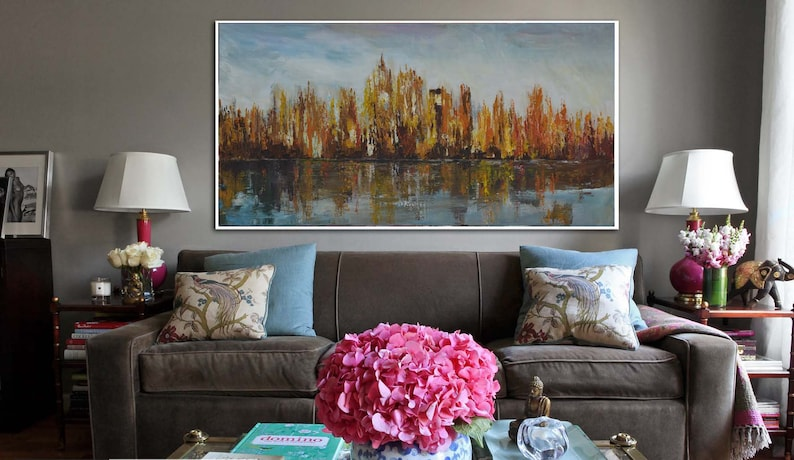 New York City Wall Art Extra Large Abstract Painting Oil Painting Abstract Large Artwork Living Room Wall Art Abstract Decor Artwork