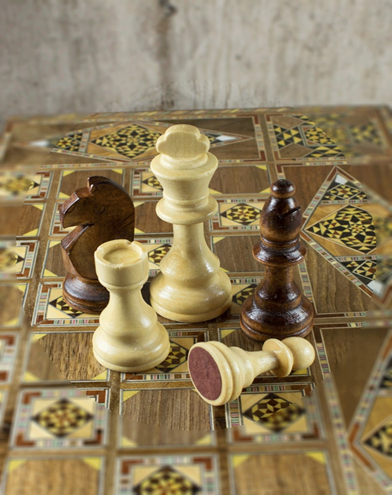 2 Dice Chess board 21 Backgammon wooden Mosaic pieces Mosaic Mother of pearl Wooden Chess set Include Large Chess and Backgammon