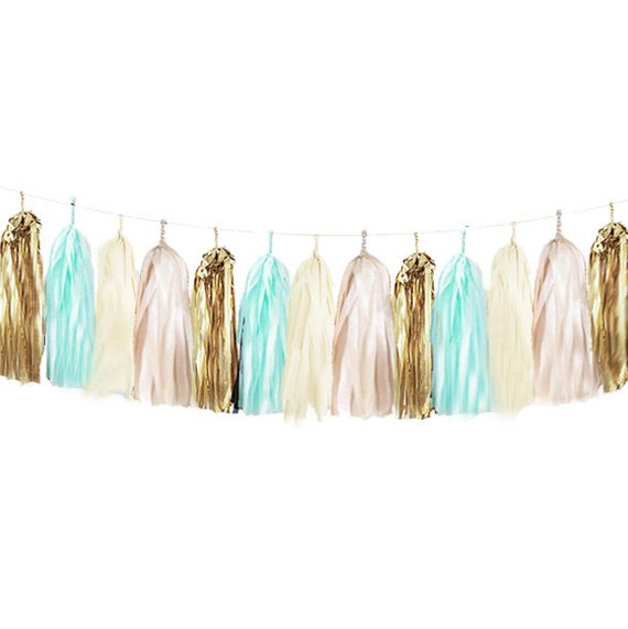 Diy Tassel Garland Kit Turquoise Gold Nude Cream Tissue Paper Modern Room Tassle Decor Balloon Tails