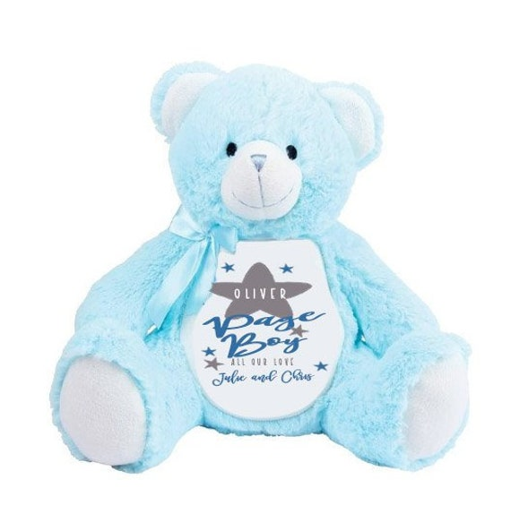 Personalised Teddy Bear Wedding Thank you Page Boy Ring Bearer Present Blue
