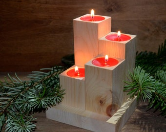 Candle holders made of Swiss stone pine, candles, pine wood, candlesticks, tealights, wood