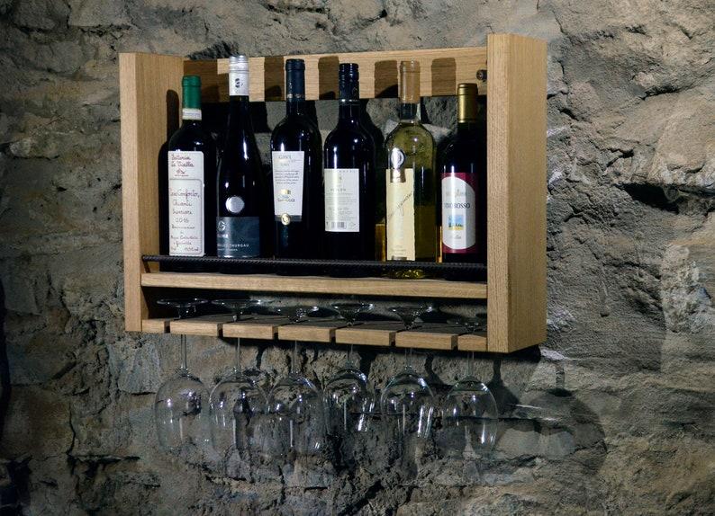 Massive oak wine shelf