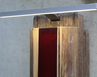 Upcycled design light made of reclaimed wood