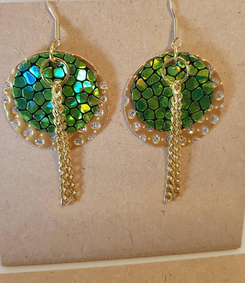 Gold Green Earrings Circle Faux Leather Earrings Floral Jewelry Gold Faux Earrings Lightweight Earrings Statement Earrings