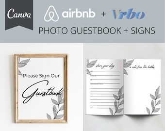 Airbnb Guestbook Sign and Pages | Airbnb | VRBO | Guestbook | Host Essentials | Photo Guestbook | Canva Template | Short Term Rental | House
