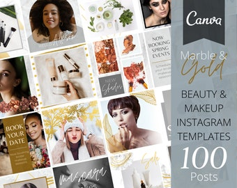 100 Instagram Posts | Canva Template | Makeup Artist | Beauty | Cosmetic | Marble & Gold | Esthetician | Fully Editable | Social Media Pack