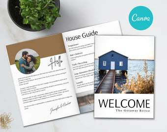 Airbnb Welcome Book Template | 20 Page Host Guidebook | Canva Template | AirBnb | VRBO | STR Host | Home Rental | Vacation Guide | Guestbook