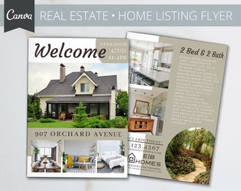 Real Estate Home Flyer | Realtor | Real Estate Marketing | Canva Template | Home Sale | Customize | Editable | Canva Real Estate Template