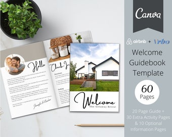 Airbnb Welcome Book Template, 20 Page Host Guidebook + 40 Bonus Pages, Canva Template, AirBnb, VRBO, AirBnb Host,  Home Rental, Guest Book
