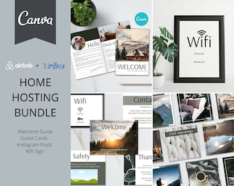 Airbnb Hosting Bundle | Canva Templates | 20 Page Guest Book | Guest Cards | Instagram Templates | Wifi Sign  | AirBnb | VRBO | Airbnb Host