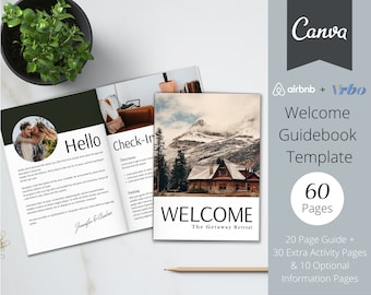 Welcome Book Template | 20 Page Host Guidebook + 40 Bonus Pages | Canva Template | AirBnb | VRBO | Superhost | Home Rental | Guest Guidebook