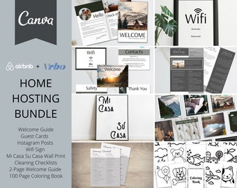 Airbnb Hosting Bundle | Canva Templates | 20 Page Guide Book | Guest Cards | Instagram Templates | Wifi Sign  | AirBnb | VRBO | Airbnb Host