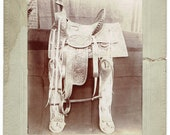 c1894 Original Saddle Photograph Old West Photo Antique Signed Dated