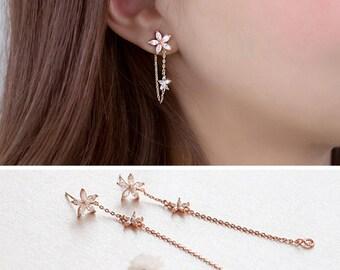 Fashion Long Crystal Sparkling Earrings Pearl Threader Ear Drop Earrings for Women Girls