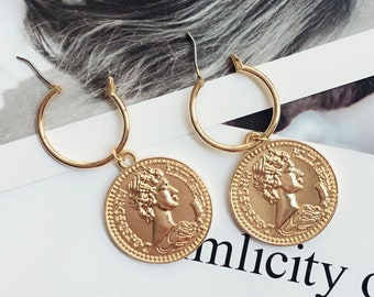 Gold coin earrings, greek coin earrings, coin earrings, disc earrings, minimal earrings, vintage coin jewelry, vintage coin earrings, gift