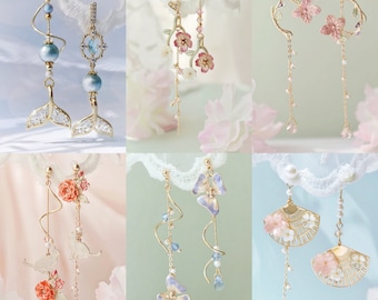 Flower earrings, blue flower earrings, summer earrings, Japanese earrings, long dangle earrings, purple earrings, mismatched earrings, cute
