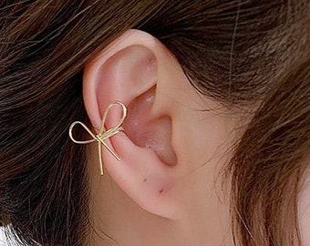 Bow ear cuffs, gold bow ear cuffs, ear cuff, gold ear cuff, ear cuff no piercing, bow earrings, Helix cuff, kids ear cuff, silver bow cuffs
