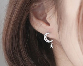 70066cf04 Sparkly Dangling moon and star earrings, Dangling Moon Earrings, Star  Earrings, daily dainty earrings, Crescent moon earrings, layering ear