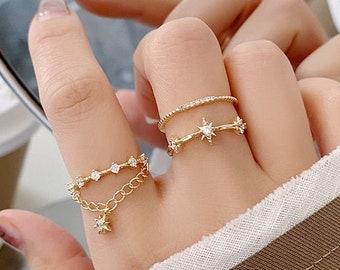 Dark Star Jewelry Kitschy Retro Jewelry Mid Century Starburst Ring North Star Ring Matte Black Star Ring Atomic Starburst Ring
