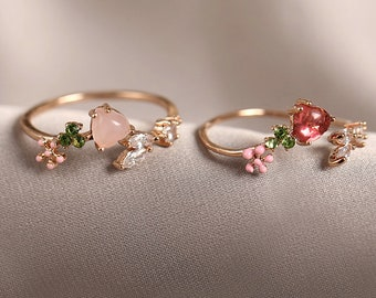 Flower ring, Pink stone rings, red stone, stackable rings, adjustable rings, Cluster ring, Dainty stackable rings, open ring, floral ring