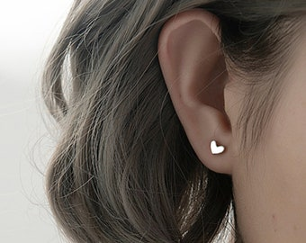 Gift for Women Flower Silver Studs Silver Heart Earrings Silver Charm Silver Earrings Heart Stud Earrings Heart Flower Earrings