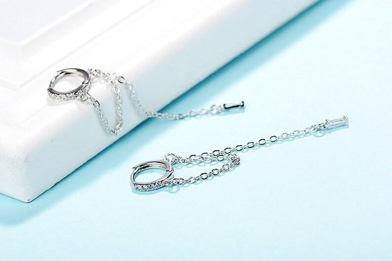loop chain earrings streetwear earrings silver long chain earrings long threader earrings CZ threader earrings Huggie chain earrings