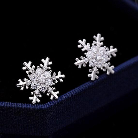White Snow Earrings with Silver Stud Earring Backs Winter Earrings Snowflake Earrings No.2 Handmade Jewelry.