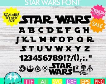Star Wars font svg, Star Wars font svg, Star Wars alphabet svg, calligraphy font svg, cursive font svg, TTF, Silhouette Cricut Files