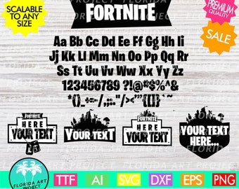 Fortnite Templates and Font SVG Cut File | Instant download | commercial use | Gamer | printable Clipart | Silhouette Cricut | Fortnight