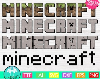 Minecraft 4 Fonts SVG Cut File | commercial use | Instant download | Alphabeth | Printable Clipart | Minecraft Logo SVG | Silhouette Cricut