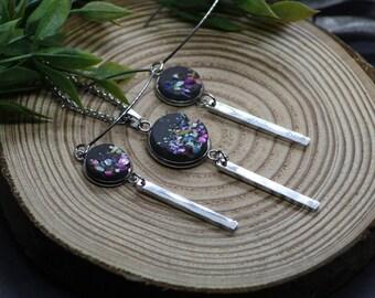 SET - Halskette und Ohrringe aus Edelstahl mit bunten Muschelsplittern