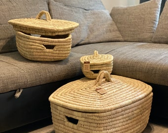 Laundry basket braided set of 3 - Palm basket rectangular with lid - Wicker basket for laundry - ecological and sustainable - 100% Handmade