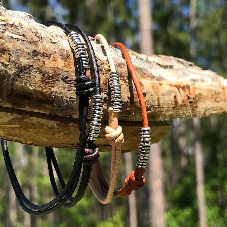 Leather Jewelry Thin Man Bracelet Bracelet for woman Leather Bracelet Silver bracelet Thin Bracelets Matching Bracelets