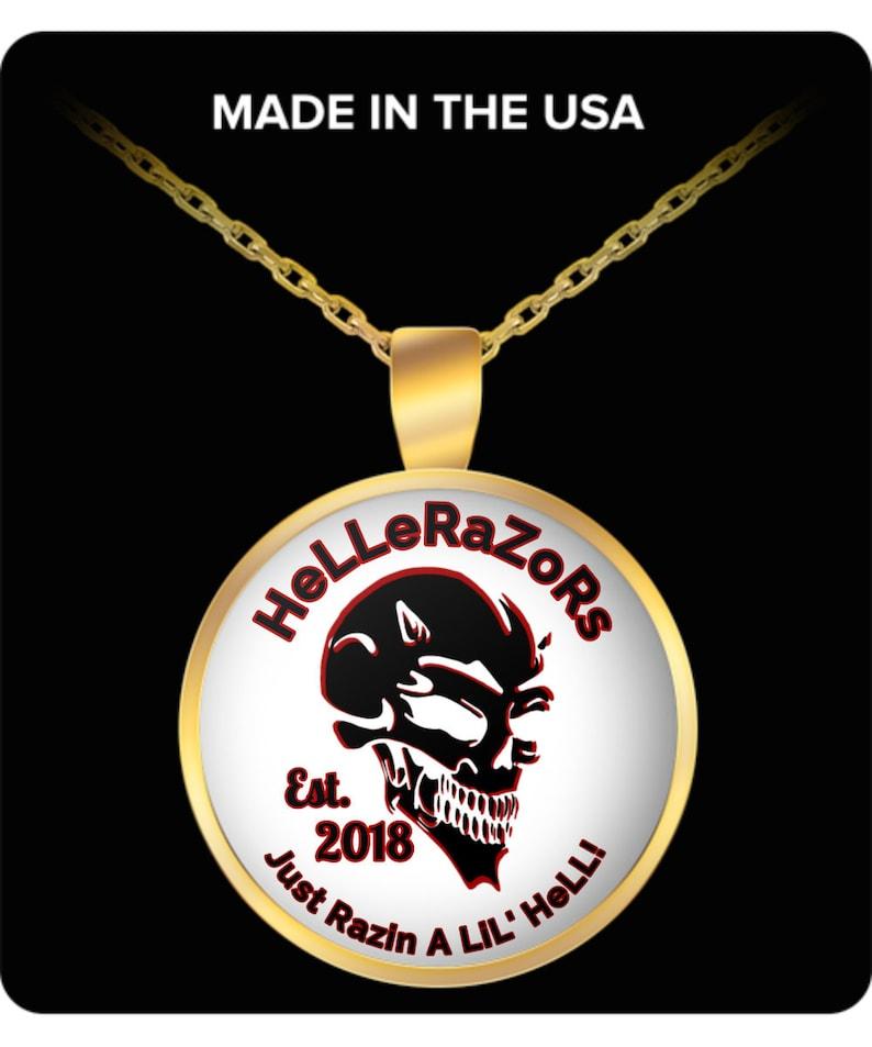Hellerazors devil logo gold plated necklace