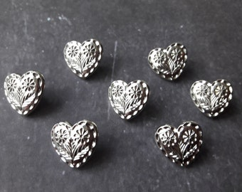 20-26mm Heart Shaped Silver Color Concho with Rectangle Holes