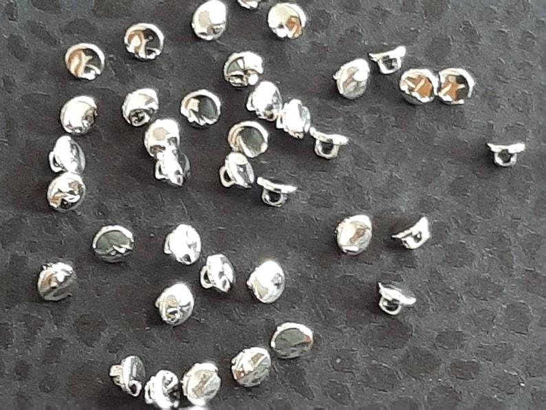 310 9mm Tiny Shiny Silver Polished Shank Buttons 14L
