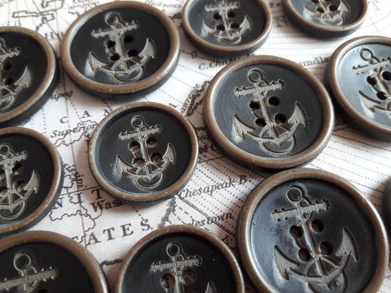 25mm RARE Detailed Tri-Colour Anchor Buttons 1316 40L 20.3mm /& 1 32L