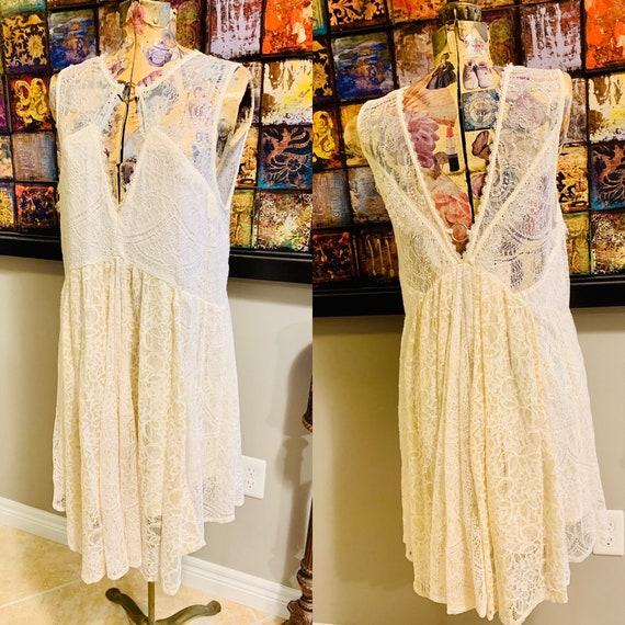 Free People Cream Lace Mini Dress Size M
