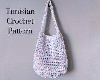 CROCHET PATTERN: Summer Market Tote / Tunisian Crochet Pattern / Handled Bag Pattern / Mesh Market Bag / Beach Bag / Crochet Pattern pdf