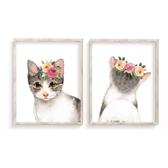 Cat Kittens on Table with Floral Arrangement Photo Wall Picture 8x10 Art Print