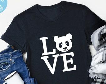 Love Panda Shirt, Panda Tshirt, Cute Animal Shirt, Love Shirt, Gift, For Women