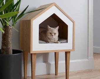 Premium Cat House, Cat House, Oak Wood Cat House, Cat Tree, Pet Cot, Cat Bed, Pet Bed, Indoor Cat House, Pet Furniture Design