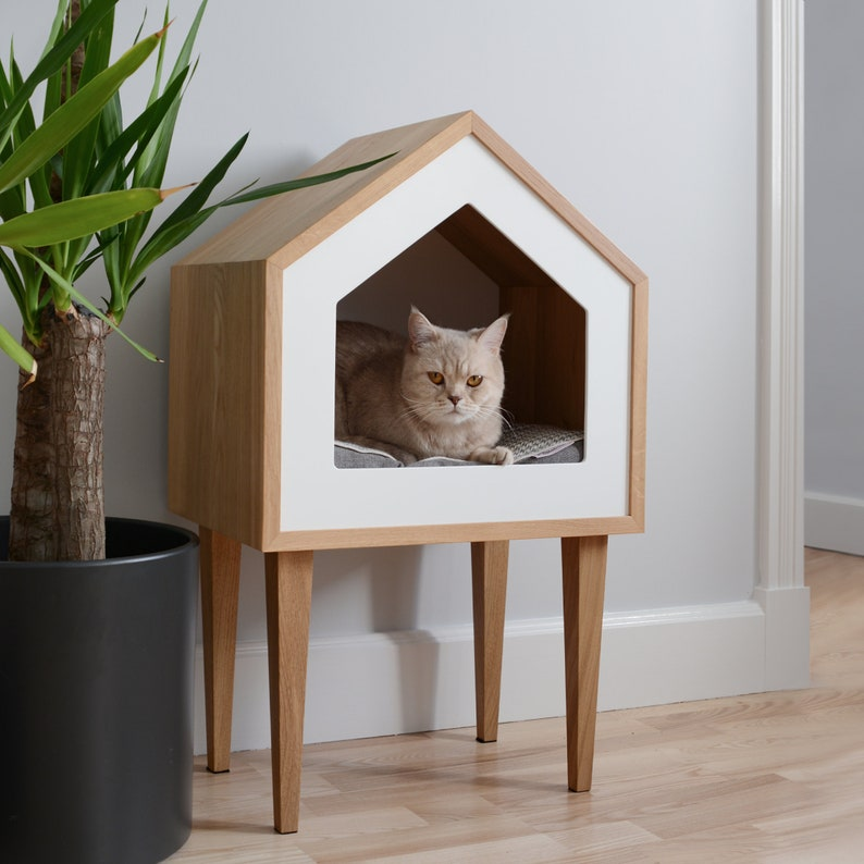 Premium Cat House Cat House Oak Wood Cat House Cat Tree image 0