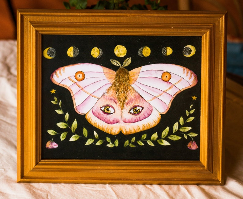 Watercolor Insect Moon Painting 8x10 Home Decor Celestial Moth Art Print
