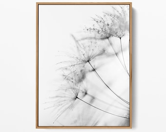 Dandelion Black and White Print - Nature & Botanical Printable Wall Art- High-Quality Art - Scandinavian Print