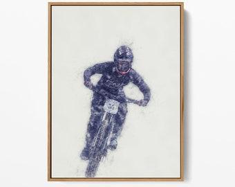 Downhill Print,  Mountain Bike , MTB - Bike Wall Art - High-Quality Art - Printable Wall Art -Scandinavian Print