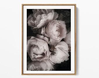 Bouquet of Pink Roses Art Print, Roses Wall Art, Printable Poster, Flower Photography, Modern Botanical Flower Print