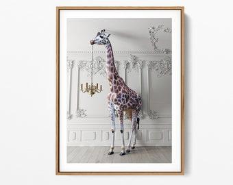 The Giraffe With A Chandelier Print, Giraffe Print Art, The Giraffe with a Chandelier Print Printable, Giraffe Photo
